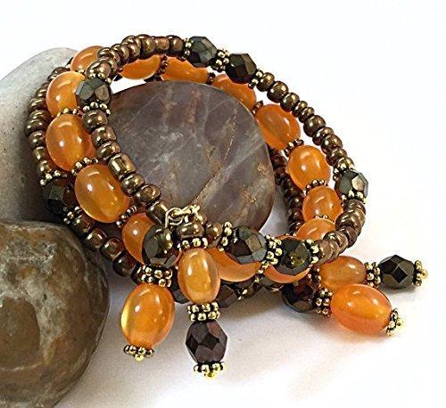 Valentine's Day Gifts for Wife, Brown & Orange Bracelet, Rustic Boho Bracelet, Mother's Day Gifts