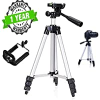 Teconica 3112 Portable 105cm Long 4 Section Adjustable 3 Way Pan and Tilt Tripod for DSLR | Mobile | Gopro Action Camera | Travel Purpose {Colour May Vary}