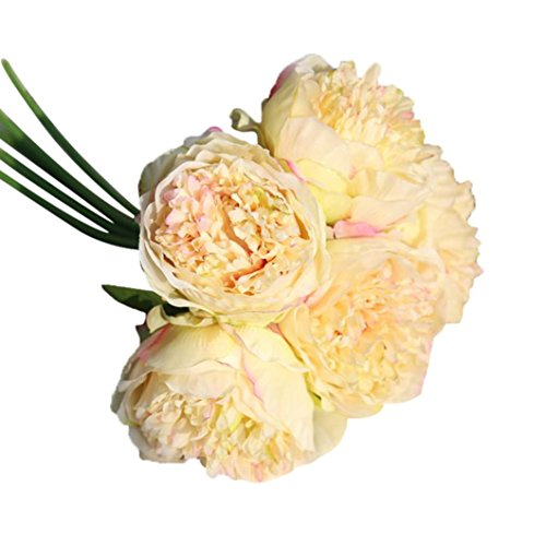 Artificial Peony,Clearance! 1Bouquet 5 Heads Artificial Peony Silk Flower Leaf Home Bridal Wedding Party Festival Bar Decor (Sherbet Stem)