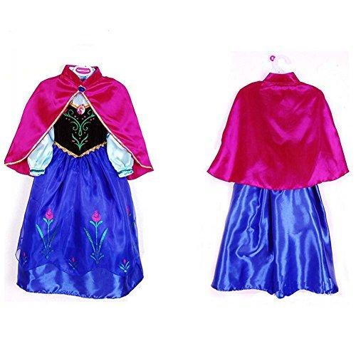 Anna Winter Dress Disney Frozen Inspired Costume CosplayKid Halloween 3T-10Y (3T/4T-100) (Disney Anna Frozen Costume)