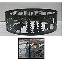 PD Metals Steel Campfire Fire Ring Moose Design - Unpainted - with Cooking Grill - Small 30 d x 10 h Plus Free eGuide