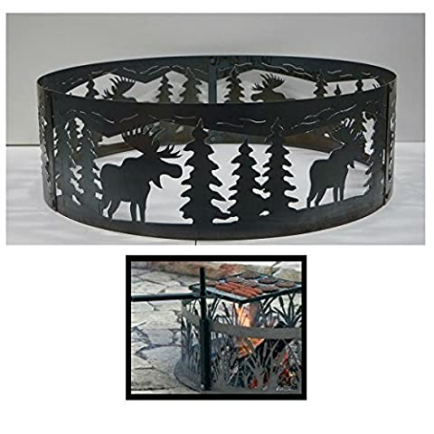 PD Metals Steel Campfire Fire Ring Moose Design - Unpainted - with Cooking Grill - Medium 38 d x 12 h Plus Free (Moose Fire Pit Ring)