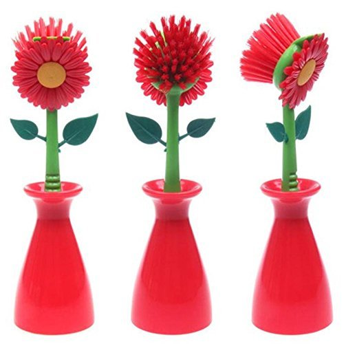 Cleaning Brush Sun Flower shape pan pot Dish Washing Brush Kitchen cleaning tool (RED)