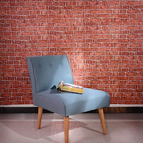 (Coavas Decorative Self-Adhesive Wallpaper Red Brick Decoration Printed Stick Paper Easy to Apply Peel Stick Wallpaper (17.7x196.9)