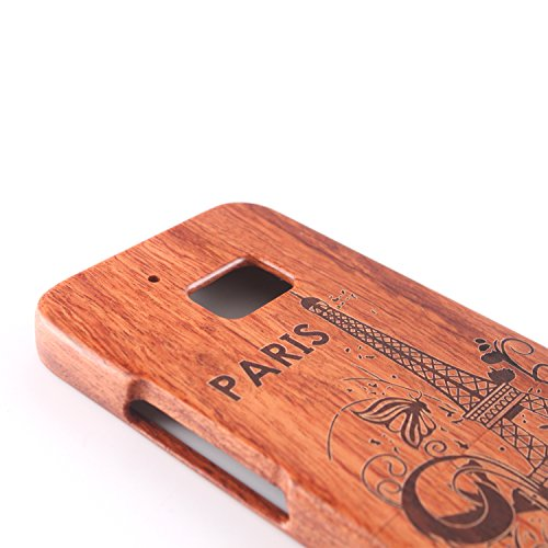 para HTC One M7 Wood Case, Vandot 2 en 1 Funda Madera Real Rigida Cubierta Carcasa Protectiva Tapa Trasera Anti-Shock Caja del teléfono móvil para HTC One M7 / HTC M7, Diseño del árbol de coco Madera 10