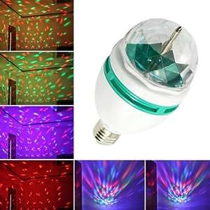 BlueBeach® Crystal rotación E27 3W RGB LED Bombilla colorida automática para el Partido y Disco
