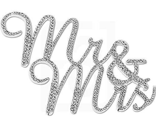 Mr&Mrs, Wedding Vow and Anniversary Cake Topper, Crystal Rhinestones on Silver Metal, Party Decorations, Favors