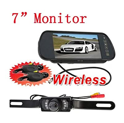 BW® 7 Inch TFT LCD Reverse Mirror Monitor IR Night Waterproof Car Wireless Reversing Parking Backup RearView Camera System