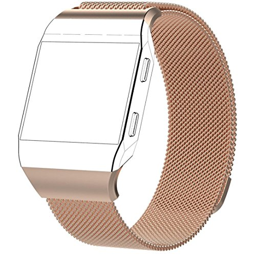 Price comparison product image Boofab For Fitbit Ionic Bands for Women Men,  Fully Magnetic Closure Clasp Mesh Loop Milanese Stainless Steel Metal Ionic Sport Band Accessories for Fitbit Ionic Smartwatch More Colors (Rose Gold)