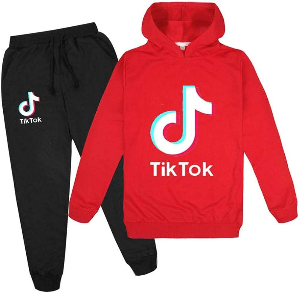 """Sweatshirt LVABC Tik Tok Set mit Kapuzenpullover und Hose mit Aufschrift /""""Tik Tok/"""" Unisex f/ür Kinder Kleidung"""