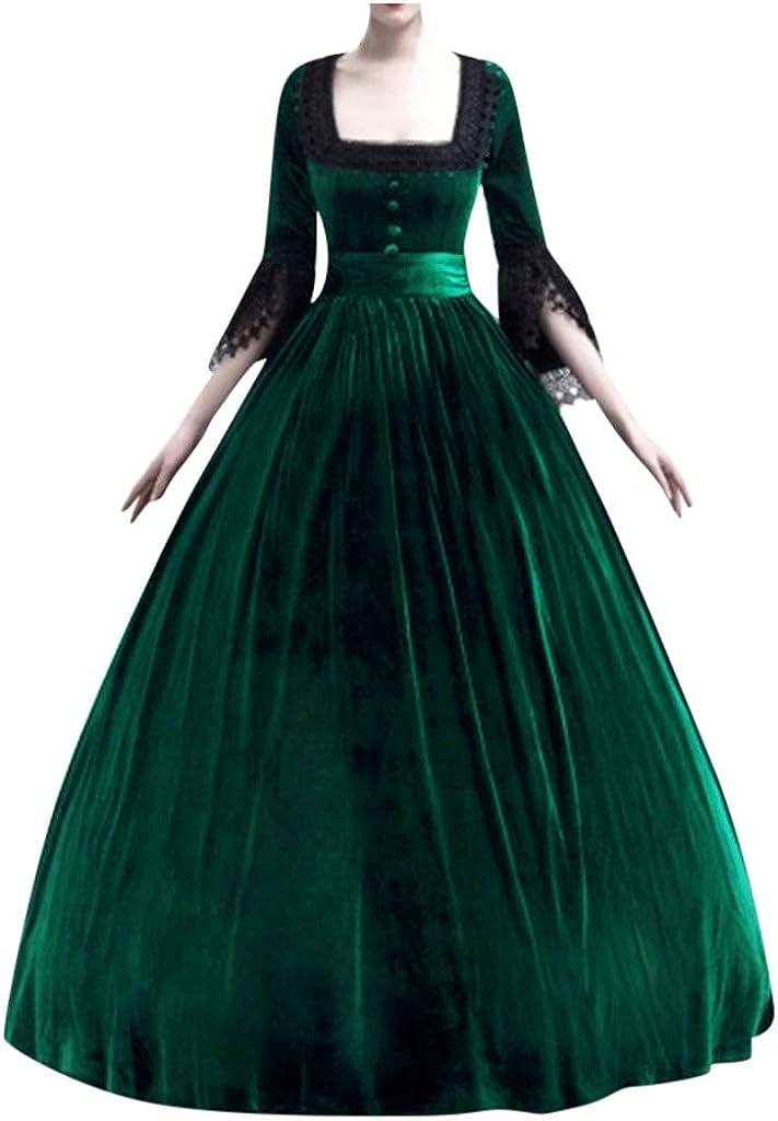 Kstare Women Renaissance Medieval Dress Plus Size Long Lace Up Costumes Retro Gown Costume Vintage Victorian Dresses