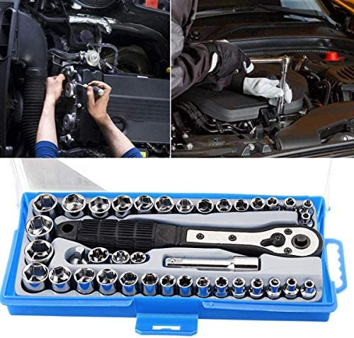 KEKEYANG Wrench Adjustable 38Pcs Socket Set 3/8 Inch Metric Ratchet Driver Socket Wrenches Tool with Box Kit Household Universal Hand Tools Handle