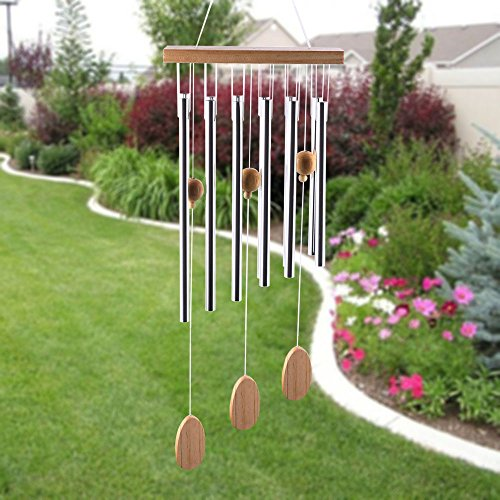 "Outdoor Wind Chimes 20"" Amazing Grace Wind Chimes for Outdoor Indoor Patio Garden Balcony Beautiful Outdoor Home Decor (silver)"