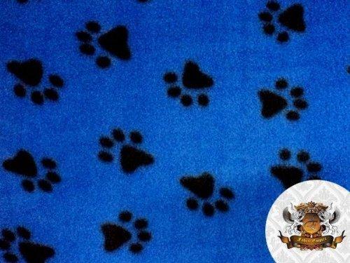 Fleece Fabric Printed Animal Print Pawprint ROYAL BLUE Fabric By the Yard