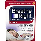 Breathe Right Extra Strength Clear Drug-Free Nasal Strips for Congestion Relief, 26 count - Pack of 6