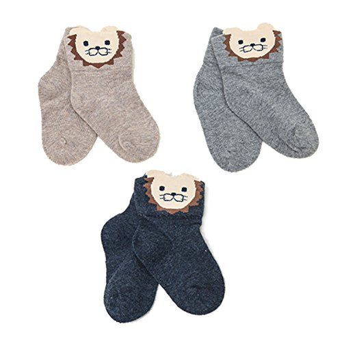 [OLABB Unisex-baby Newborn Socks Cute Animal Face- Lion (Pack of 3)] (Cute Baby Boy Costumes Ideas)