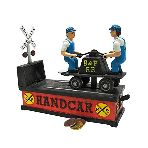 Design Toscano Railroad Handcar Collectors' Die Cast Iron Mechanical Coin Bank