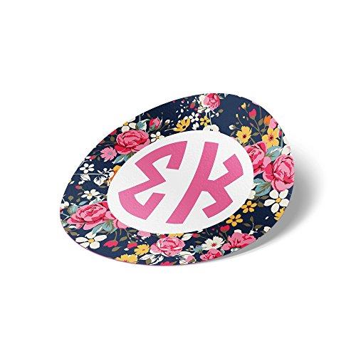 Sigma Kappa Circle Floral Monogram Sticker 3 Inch Tall Sorority Decal Greek for Window Laptop Computer Car