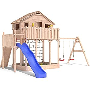 baumhaus play tower treehouse stilt kids playhouse sandpit slide 2 swings. Black Bedroom Furniture Sets. Home Design Ideas