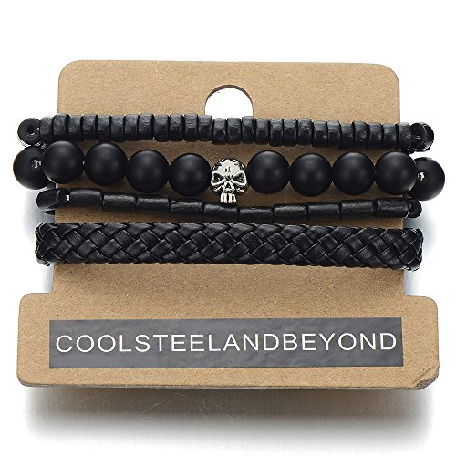 Mix of 4 Black Wrap Bracelets for Men and Women, Multi-strand Wood Beads Leather Wristbands