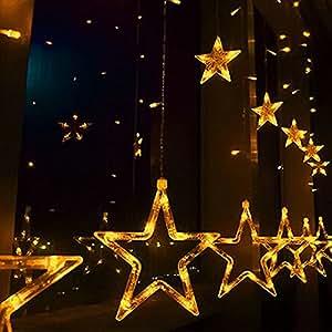 Estrella guirnalda de luz LED 5m 138LED cortina carámbano lámpara, bodas, Navidad fiesta decoración de jardín w/enlazable cola J.S.U