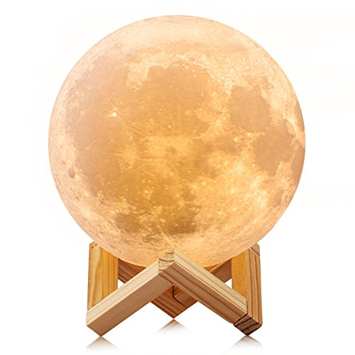 ACED 3D Printing 4.7Inch Moon Light Lamp Baby Night Light, Dimmable Color Changing, Touch Sensor Battery Operated LED Table Lamps Bedside for Bedrooms, Cool Christmas Gifts for Kids Teens