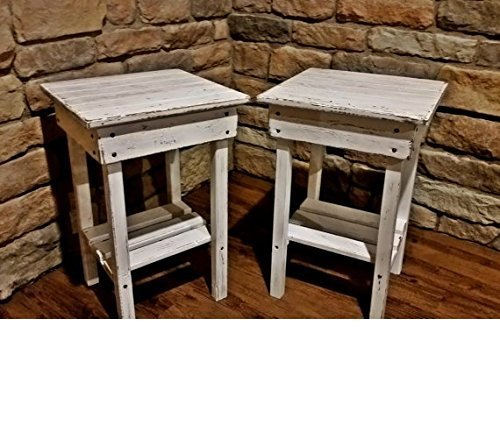 Distressed Night Stand Set /White Distressed End Table Set /Bed Side Tables/Rustic Table/Farmhouse Side Table/Vintage/Wooden Table For Sale