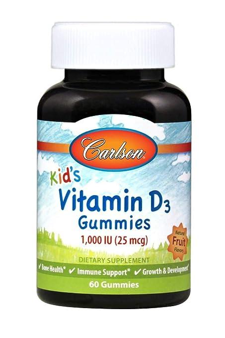 Carlson Labs - Vitamina D3 Gummies para niños Fruta 1000 IU ...
