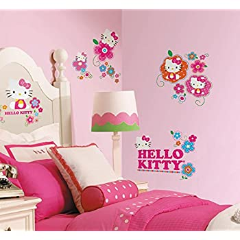 Wonderful Hello Kitty   Floral Boutique Peel U0026 Stick Wall Decals 10 X 18in