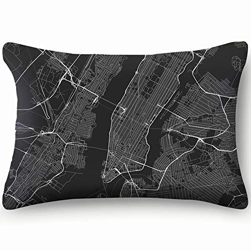 best bags All Streets New York Map Transportation Pillowcases Decorative Pillow Covers Soft and Cozy, Standard Size 14