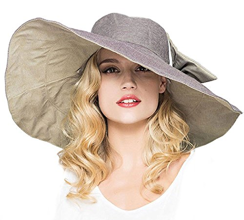 Shapeable Large Brim Reversible Floppy Sun Hat UPF 50+ Beach Sun Bucket (Floppy Reversible Sun Hat)