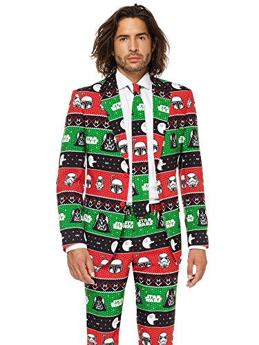 OppoSuits Christmas Suits Men with Star Wars Theme - Ugly Xmas Sweater Costumes Include Jacket Pants & - Christmas Tuxedo