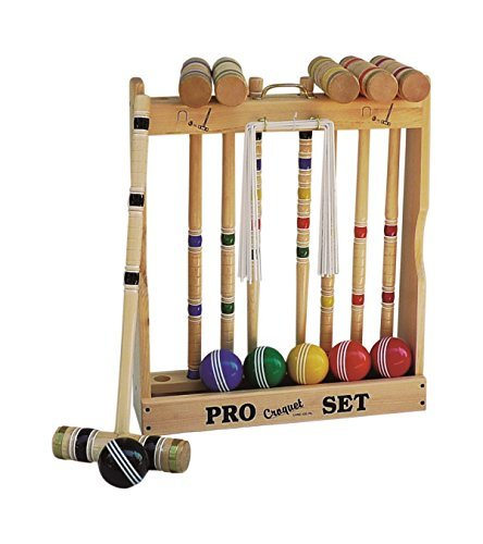 6 Player Croquet Set Amish-made in Wood Rack with 32