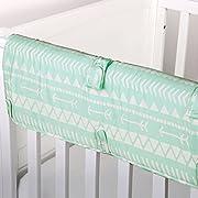 Mint Green Tribal Print 100% Cotton Padded Crib Rail Guard by The Peanut Shell