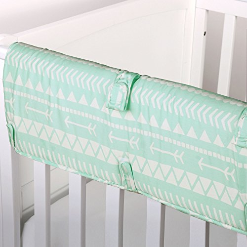 Mint Green Tribal Print 100% Cotton Padded Crib Rail Guard by The Peanut Shell by The Peanut Shell (Image #4)
