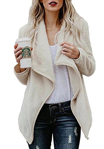 FOUNDO-Women-Lapel-Fluffy-Fleece-Jacket-Warm-Fuzzy-Open-Front-Cardigan-Outerwear