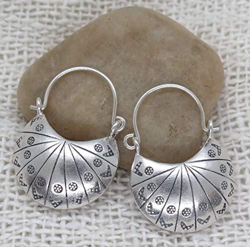 (Sterling Silver Boho Moon Hoop Earrings, Handmade 3d Crescent shape Hippie Gypsy Ethnic Bohemian)