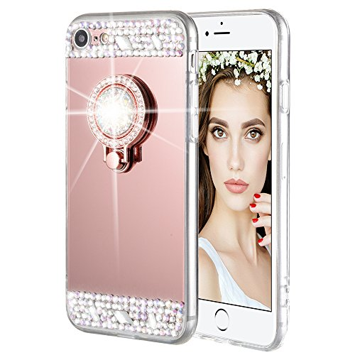 iPhone 7/8 Case, Caka iPhone 7 Glitter Case [Rhinestone Series] Luxury Cute Shiny Bling Mirror Makeup Case for Girls with Ring Kickstand Diamond TPU Case for iPhone 7/8 - (Rose (Bling Rhinestone)