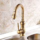 Shengbaier Centerset Deck Mounted Nickel Brushed Kitchen Faucet (Antique Bronze Finish)