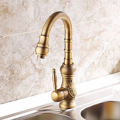 Shengbaier Centerset Deck Mounted Nickel Brushed Kitchen Faucet (Antique Bronze Finish) by ZHENG