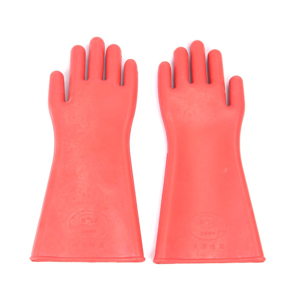 DmsBang 2Pcs Newest in the market Safe Product Red 12KV Insulating Gloves Rubber Safety Electrical Protective Gloves Kit Personal Working Equipment Hand Arm Protection Home Tool Set