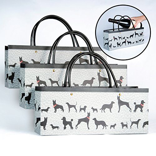 Wine Dog Gift Bags Set of 3 Superior Quality Paper Gift Bags Sure to Please any Dog Lover by Simply (Elegant Boston Bag)