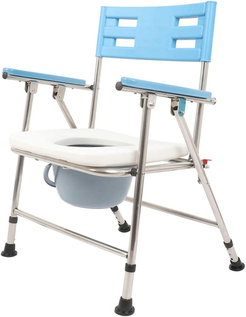 ホームケア バストイレチェア ベッドサイド便器シート 妊娠中のバススツール 折り畳み 省スペース ハンドルとバケット付き 滑り止めレッグパッド 障害者、高齢者向け