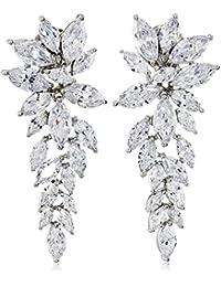 S Silver, Cubic Zirconia Elegant Drop Earrings, 23.60 ct. tw.