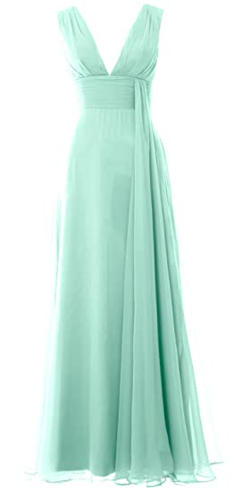 MACloth Women Deep V Neck Long Bridesmaid Dress Chiffon Simple Prom Gown (6, Aqua