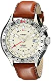 Timex Men's T2P426DH Intelligent Quartz 3-GMT Stainless Steel Watch with Brown Leather Band