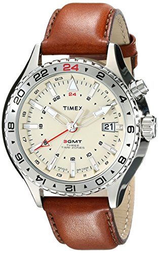 (Timex Men's T2P426DH Intelligent Quartz 3-GMT Stainless Steel Watch with Brown Leather Band)