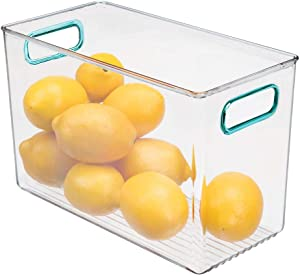 mDesign Plastic Food Storage Container Bin with Handles - for Kitchen, Pantry, Cabinet, Fridge/Freezer - Narrow Organizer for Snacks, Produce, Vegetables, Pasta - BPA Free, Food Safe - Clear/Blue