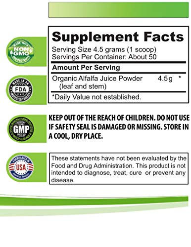 Cholesterol Supplement - Organic Alfalfa Juice Powder - superfood Powder antioxidants - 3 Cans 24 OZ (150 Servings) by Health Solution Prime (Image #1)
