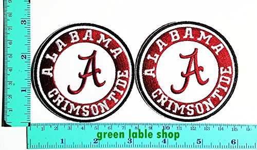 Alabama Crimson Tide Applique (2 Pieces Alabama Crimson Tide Team Patch Logo Sew Iron on Embroidered Appliques Badge Sign Costume)